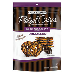 PRETZEL CRISPS DARK CHOCOLATE DRIZZLERS 5.5 OZ PEG BAG