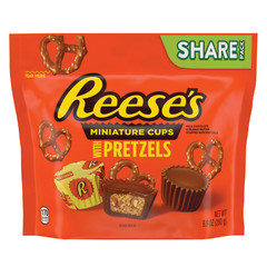 REESE'S MINI PEANUT BUTTER CUPS WITH PRETZELS 9.9 OZ POUCH