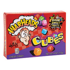 WARHEADS SOUR CHEWY CUBES 4 OZ THEATER BOX