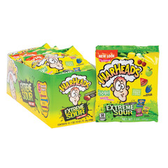 WARHEADS EXTREME SOUR ASSORTED HARD CANDY 1 OZ BAG