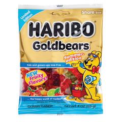 HARIBO SUMMER EDITION GOLD BEARS 4 OZ PEG BAG