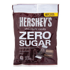 HERSHEY'S ZERO SUGAR MILK CHOCOLATE CANDY 3 OZ PEG BAG