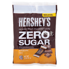 HERSHEY'S ZERO SUGAR CHOCOLATE WITH CARAMEL 3 OZ PEG BAG