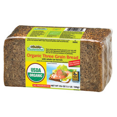 MESTEMACHER ORGANIC THREE GRAIN BREAD 17.6 OZ