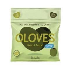 OLOVES BASIL & GARLIC WHOLE PITTED OLIVES 1.1 OZ