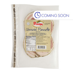 PRINCIPE UNCURED ROUND PRE-SLICED PANCETTA 4 OZ
