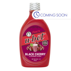 FOX'S U-BET BLACK CHERRY SYRUP 20 OZ BOTTLE