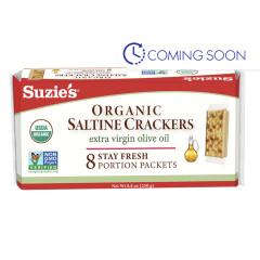 SUZIE'S ORGANIC SALTED CRACKER WITH EVOO 8.8 OZ BOX