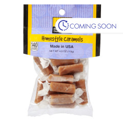 PDC CLEAR WINDOW BAG HOMESTYLE CARAMELS PEG BAG 4 OZ