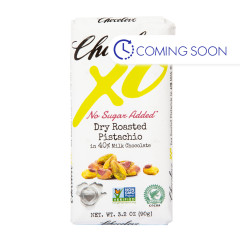 CHOCOLOVE XO NO SUGAR ADDED DRY ROASTED PISTACHIO IN 40% MILK CHOCOLATE 3.2 OZ BAR