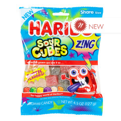 HARIBO ZING SOUR CUBES 4.5 OZ PEG BAG