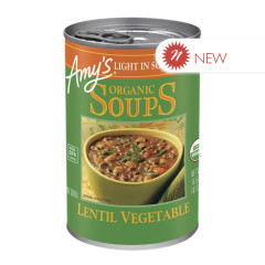 AMY'S ORGANIC LOW SODIUM LENTIL VEGETABLE SOUP  14.5 OZ CAN