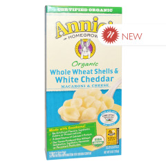 ANNIE'S ORGANIC WHOLE WHEAT & WHITE CHEDDAR MAC & CHEESE 6 OZ BOX