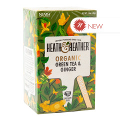 HEATH & HEATHER ORGANIC GREEN TEA W WITH GINGER 20 CT BOX