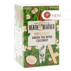 HEATH & HEATHER ORGANIC GREEN TEA WITH COCONUT 20 CT BOX