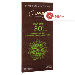 CEMOI SUPER DARK CHOCOLATE 80% COCOA ECUADOR 3 OZ BAR