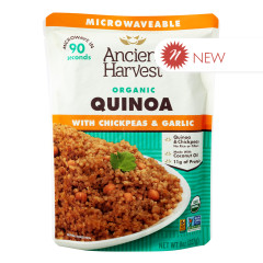 ANCIENT HARVEST MICROWAVABLE ORGANIC CHICKPEA & GARLIC  QUINOA 8 OZ POUCH