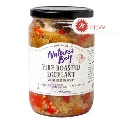 NATURE'S BEST FIRE ROASTED EGGPLANT WITH RED PEPPERS 24 OZ JAR