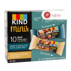 KIND MINIS DARK CHOCOLATE NUTS & SEA SALT & CARAMEL ALMOND & SEA SALT 0.7 OZ BARS 10 CT BOX