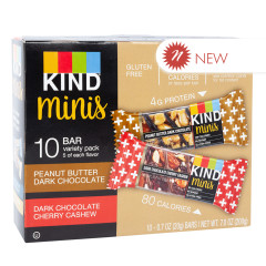 KIND MINIS PEANUT BUTTER DARK CHOCOLATE & DARK CHERRY CASHEW (10 CT) 0.7 OZ BARS