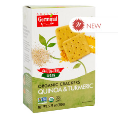 GERMINAL ORGANIC GLUTEN FREE QUINOA & TUMERIC CRACKERS 5.29 OZ BOX