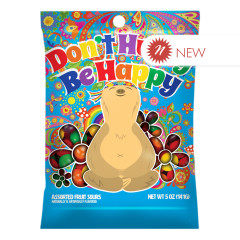 AMUSEMINTS DON'T HURRY BE HAPPY SLOTH FRUIT SOURS 5 OZ PEG BAG