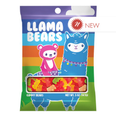 AMUSEMINTS LLAMA BEAR GUMMY BEARS 5 OZ PEG BAG