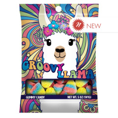 AMUSEMINTS GROOVY LLAMA TROPICAL GUMMY CANDY 5 OZ PEG BAG