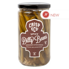 CRISP & CO SPICY DILLY BEANS PICKLED GREEN BEANS 24 OZ JAR