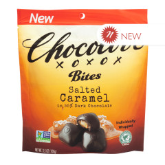 CHOCOLOVE SALTED CARAMEL BITES IN DARK CHOCOLATE 3.5 OZ POUCH