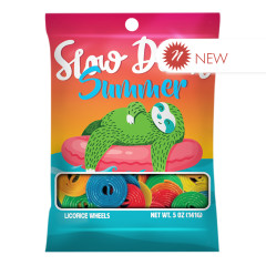 AMUSEMINTS SLOW DOWN SUMMER SLOTH LICORICE WHEELS 5 OZ PEG BAG