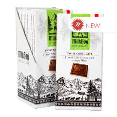 MILKBOY 72% SWISS DARK CHOCOLATE CRISPY MINT 3.5 OZ