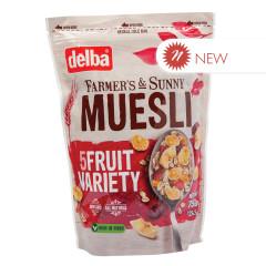 DELBA 5 FRUIT MUESLI 26.5 OZ POUCH