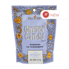 GEM GEM JUST GINGER CHEWY GINGER CANDY 5 OZ PEG BAG