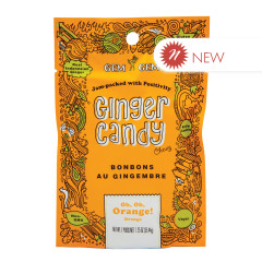 GEM GEM CHEWY ORANGE GINGER CANDY 1.25 OZ PEG BAG