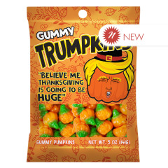 AMUSEMINTS TRUMPKINS THANKSGIVING 3D GUMMY PUMPKINS 5 OZ PEG BAG