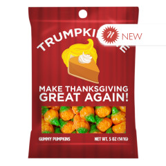AMUSEMINTS TRUMPKIN PIE MAKE THANKSGIVING GREAT AGAIN GUMMY PUMPKINS 5 0Z PEG BAG