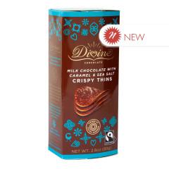 DIVINE MILK CHOCOLATE WITH CARAMEL & SEA SALT CRISPY THINS 2.8 OZ BOX