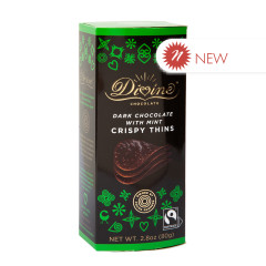 DIVINE DARK CHOCOLATE WITH MINT CRIPSY THINS 2.8 OZ BOX