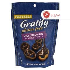 GRATIFY GLUTEN FREE MILK CHOCOLATE COVERED PRETZEL TWISTS 5.5 OZ POUCH