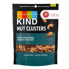 KIND - NUT CLUSTERS - DARK CHOCOLATE NUTS & SEA SALT - 4OZ