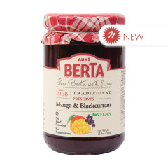 AUNT BERTA MANGO BLACKCURRANT PRESERVES 12.3 OZ JAR