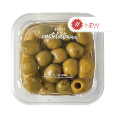 DELALLO CASTELVETRANO NATURAL PITTED OLIVES BRINE 4 OZ TUB