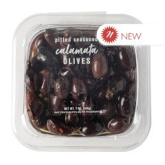 DELALLO JUMBO PITTED SEASONED CALAMATA OLIVES IN OIL 7 OZ TUB