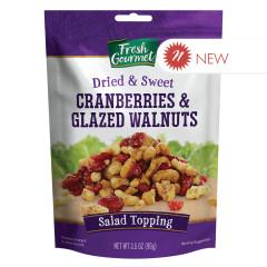 FRESH GOURMET CRANBERRIES & GLAZED WALNUTS 3.5 OZ POUCH