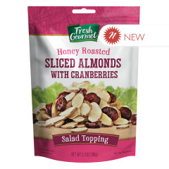 FRESH GOURMET HONEY ROASTED ALMONDS WITH CRANBERRIES 3.5 OZ POUCH