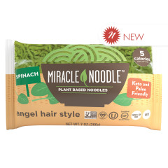 MIRACLE NOODLE SPINACH ANGEL HAIR SHIRATAKI PASTA 7 OZ BAG