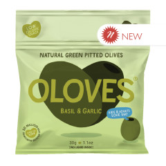 OLOVES PITTED GREEN OLIVES BASIL AND GARLIC 1.1 OZ