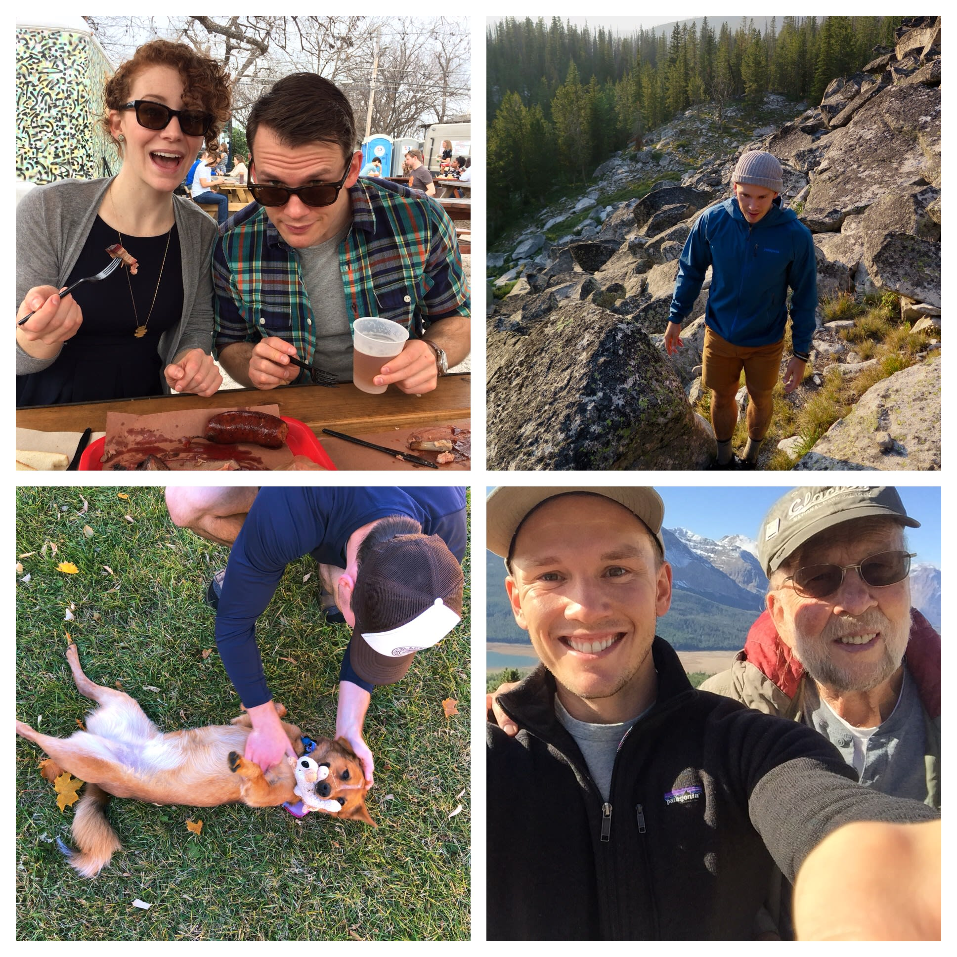 Eating BBQ in Austin; hiking in Montana; our new dog, Rally; in Glacier with my grandpa.