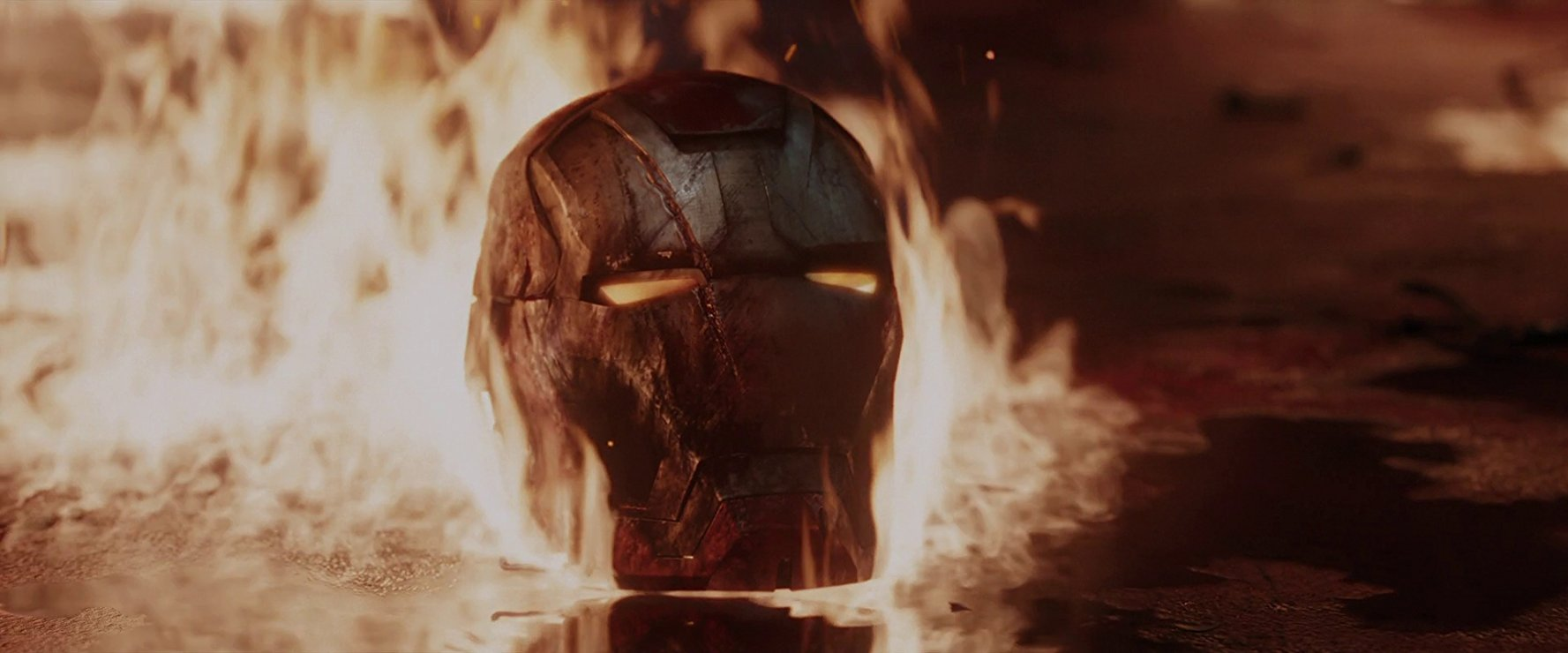 Iron Man's helmet burning in Iron Man 3
